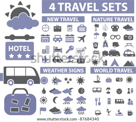 100 travel icons, signs, vector - stock vector