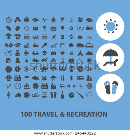 100 travel, recreation black icons, signs, vector illustrations - stock vector