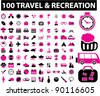 100 travel & recreation icons set, vector illustrations - stock vector