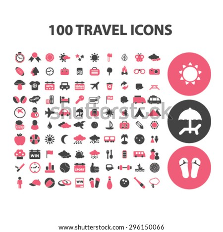 100 travel, recreation, tourism, summer vacation icons, signs, illustrations set, vector - stock vector