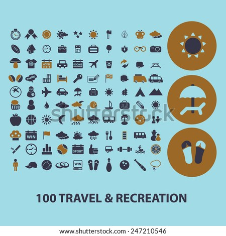 100 travel, recreation, tourism, vacation icons, signs, illustrations set, vector - stock vector