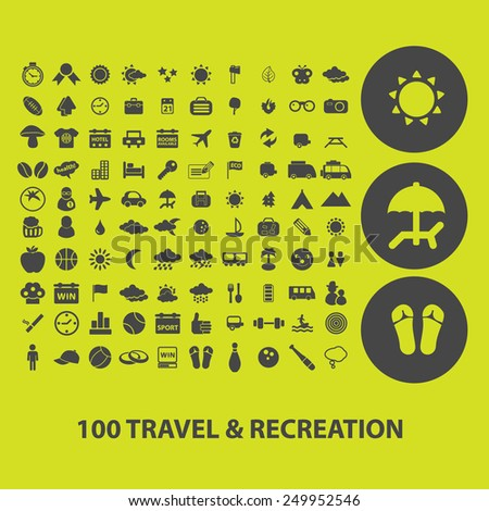 100 travel, recreation, vacation, tourism icons, signs, illustrations on background set, vector - stock vector