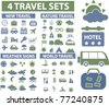 4 travel sets icons, signs, vector illustrations - stock vector