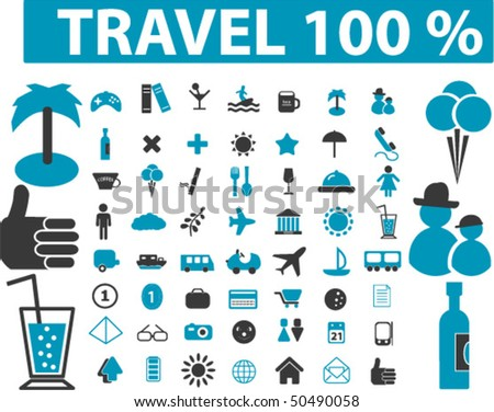100% travel signs. vector - stock vector