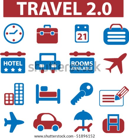16 travel signs. vector - stock vector