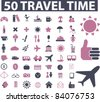 50 travel time icons, signs, vector illustrations - stock vector