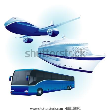 Travel transportation set. Vector. - stock vector