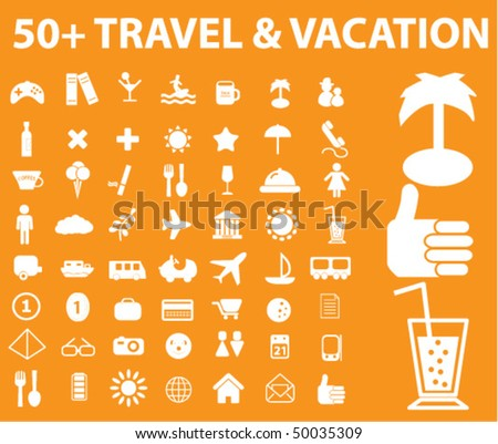 50 Travel Vacation Signs Vector