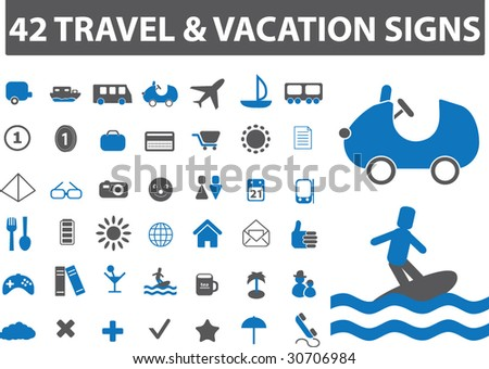 42 Travel Vacation Signs Vector Blue Series