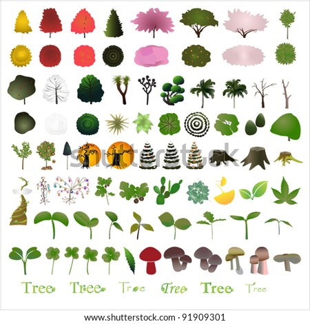 80 tree graphic design elements for icons  (vector)