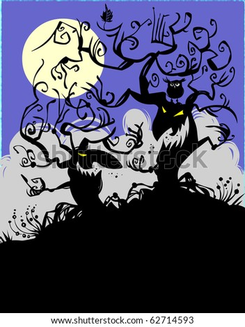 Trees at midnight. - stock vector