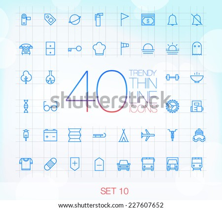 40 Trendy Thin Icons for web and mobile Set 10 - stock vector