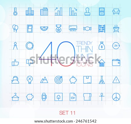 40 Trendy Thin Icons for web and mobile Set 11 - stock vector