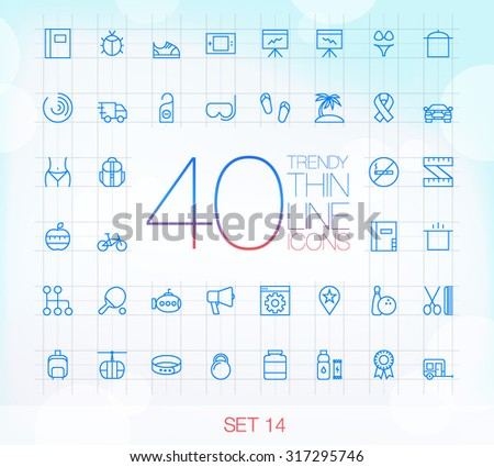 40 Trendy Thin Icons for web and mobile Set 14 - stock vector