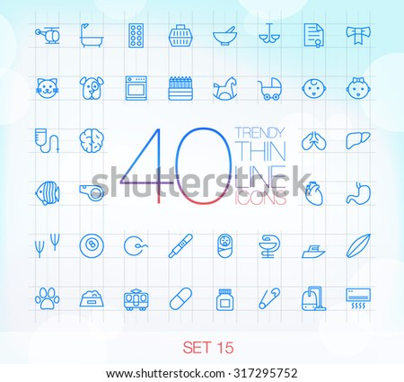 40 Trendy Thin Icons for web and mobile Set 15 - stock vector
