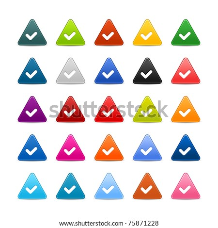 25 triangular web buttons with check sign. Colored satin smooth icon with shadow on white - stock vector