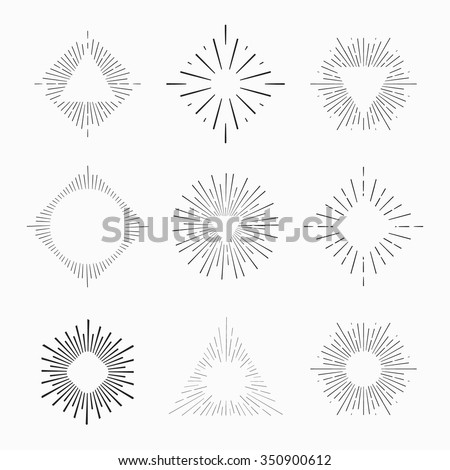 Tribal boho style frame with place for your text with arrows. Starburst hipster logo, line art vector illustration.  - stock vector