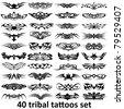 40 tribal tattoo set - stock vector