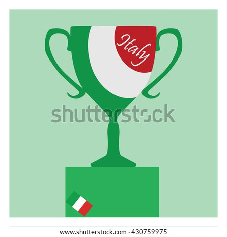 Trophy Cup Flat Icon Italian Flag Stock Vector 430759975 Shutterstock