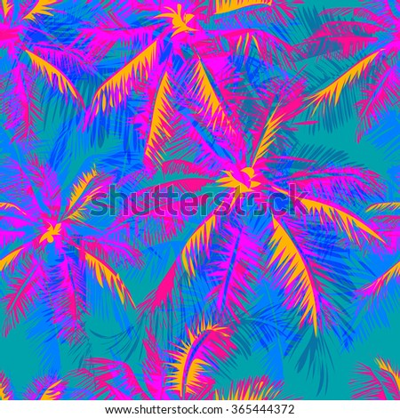 tropical pattern depicting pink and purple palm trees with  with yellow highlights reflections on a turquoise background - stock vector