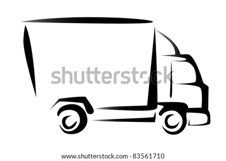 truck, cargo, delivery concept, illustration in simple lines - stock vector