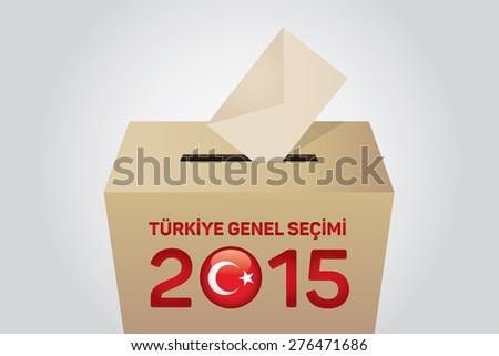 2015 Turkish General Election (Turkish: Turkiye Genel Secimi), Vote Box - Gray Background - stock vector