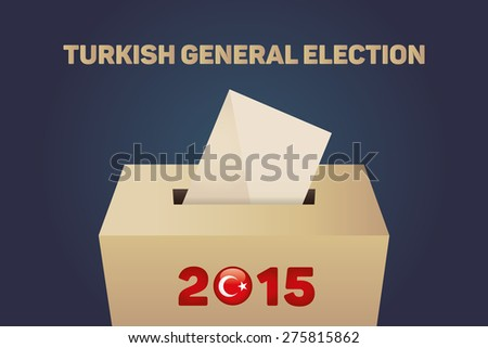 2015 Turkish General Election, Vote Box - Navy Background - stock vector