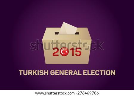 2015 Turkish General Election, Vote Box - Purple Background - stock vector
