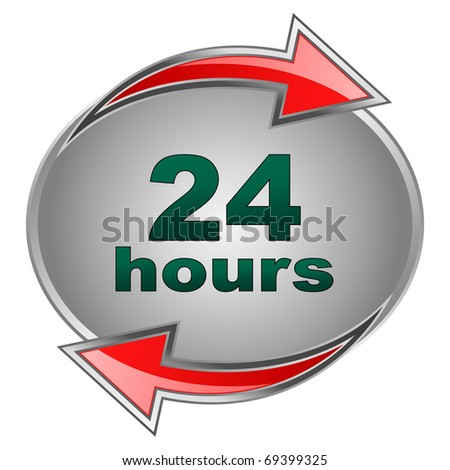 """twenty four hours"" banner - stock vector"