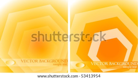 Two Abstract Orange Background,Hexagon - stock vector