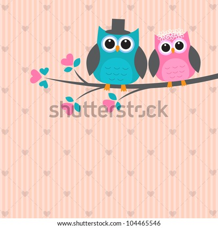 Two cute owls in love. Vector wedding card - stock vector