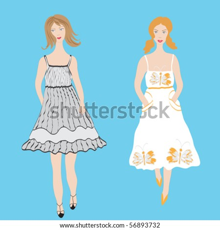 Two fashion girls in sundress - stock vector