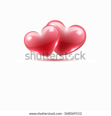 two red hearts on a white background. on Valentine's Day. vector illustration - stock vector