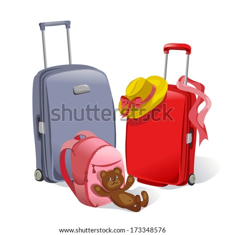 two suitcases and children's backpack. vector illustration - stock vector