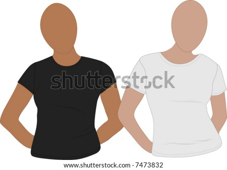 Two women's tee-shirt mannequins ready to add designs - stock vector