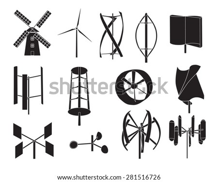 13 type of wind turbine with white background - stock vector