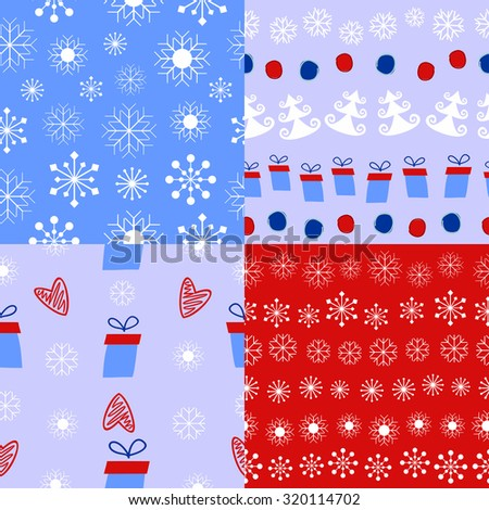 4 types of Christmas and winter background