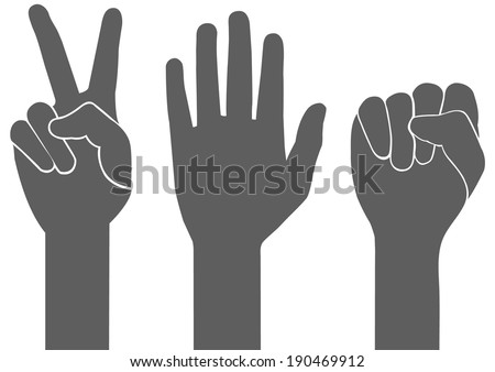 3 types of gray hand sign vector on white background - stock vector