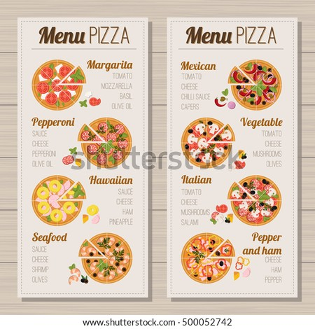8 Types Of Pizza Design On A Light Background