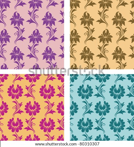 4 types of seamless pattern - flowers on a background. Each seamless pattern is grouped on a separate layer. - stock vector