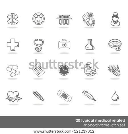 20 typical medical elements gray vector isolated icon set - stock vector