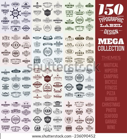 150 Typographic Label Design Set - Mega Collection - stock vector