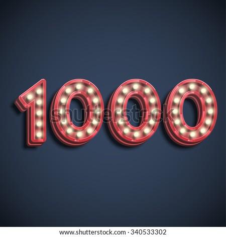 '1000' typography, vector - stock vector