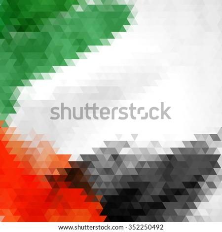 UAE Colors Art, United Arab Emirates Flag - stock vector