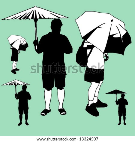 2 umbrella figures - stock vector