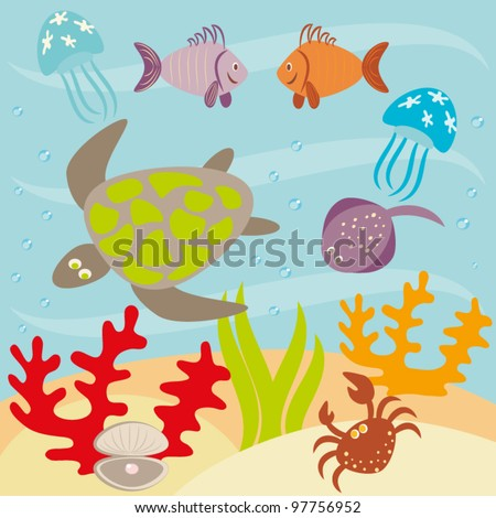 Underwater landscape and animals living in ocean - stock vector