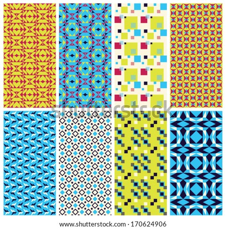 8 unique geometric patterns. This set of vector seamless abstract vintage backgrounds. Cool retro blue, yellow, pink and black colors. This texture can be used for printing onto fabric or paper.