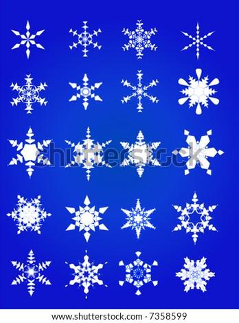 20 Unique Vector Snowflakes - stock vector
