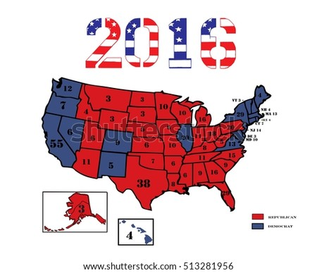 50 United States Colored In Republican Red Democrat Blue And Displaying The Number Of Electoral