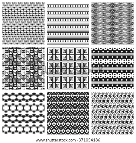 9 Universal different vector seamless patterns. Can be used for wallpaper, pattern fills, web page background,surface textures. Set of monochrome geometric ornaments.